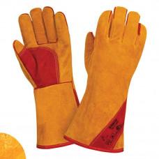 Siberia RL5, T9-11-RU, Краги спилковые утеплен. желтого цвета, пятипалые,швы Кевлар, усилены кожаным