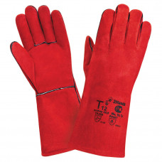 Т12 Краги спилковые, красного цвета, пятипалые, с термоизо-лирующей флисовой подкладкой, швы усилены